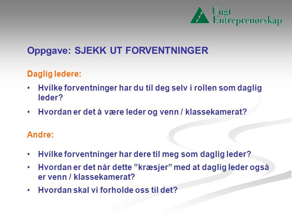 Oppgave: SJEKK UT FORVENTNINGER