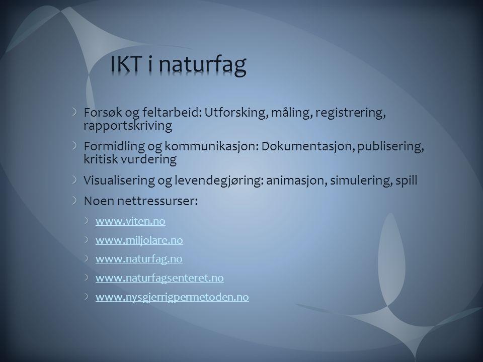 IKT i naturfag Forsøk og feltarbeid: Utforsking, måling, registrering, rapportskriving.