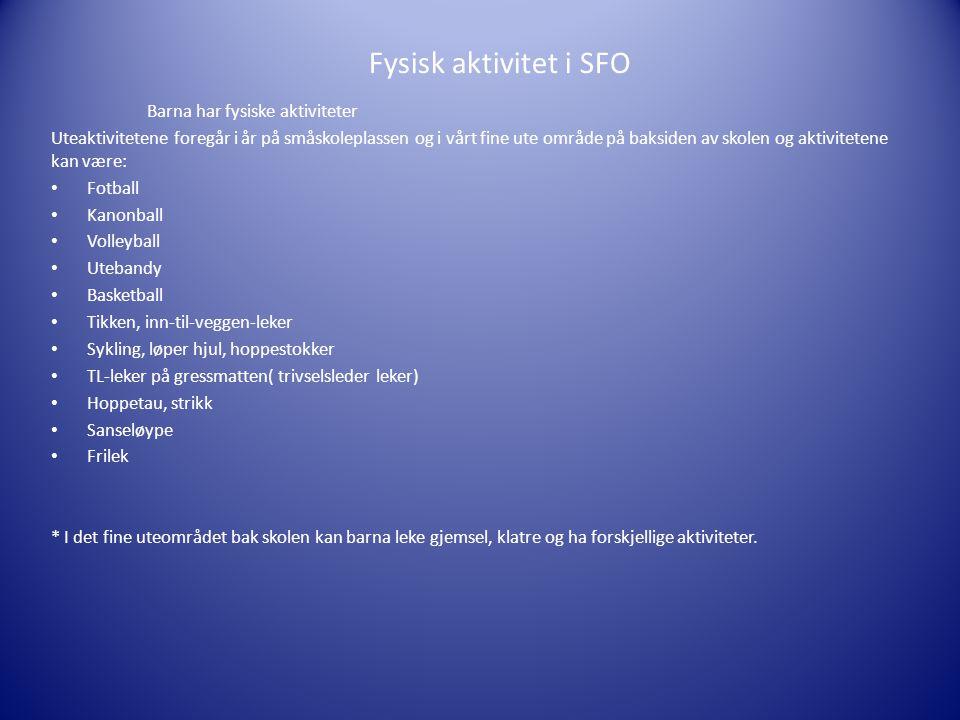 Fysisk aktivitet i SFO Barna har fysiske aktiviteter