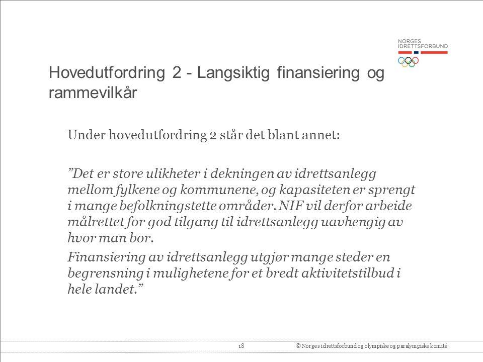 Hovedutfordring 2 - Langsiktig finansiering og rammevilkår