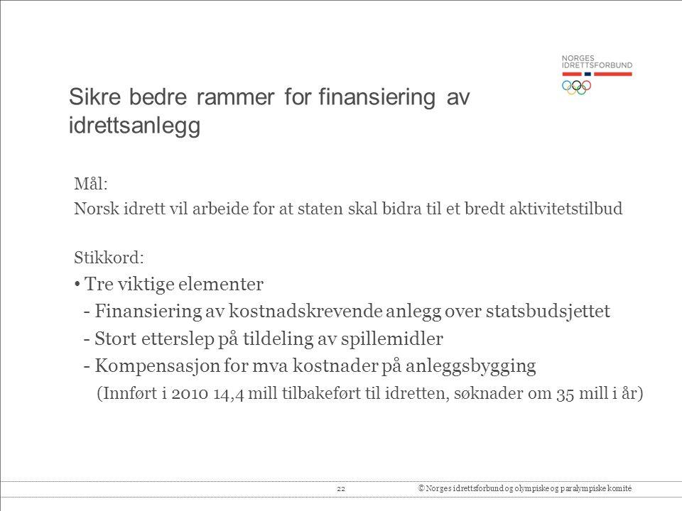 Sikre bedre rammer for finansiering av idrettsanlegg