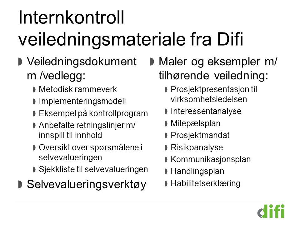Internkontroll veiledningsmateriale fra Difi