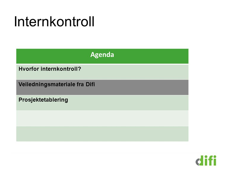 Internkontroll Agenda Hvorfor internkontroll