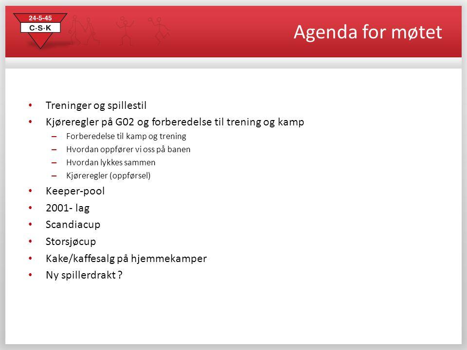Agenda for møtet Treninger og spillestil