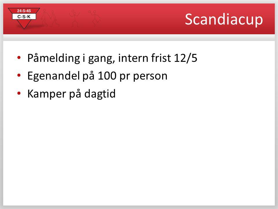 Scandiacup Påmelding i gang, intern frist 12/5