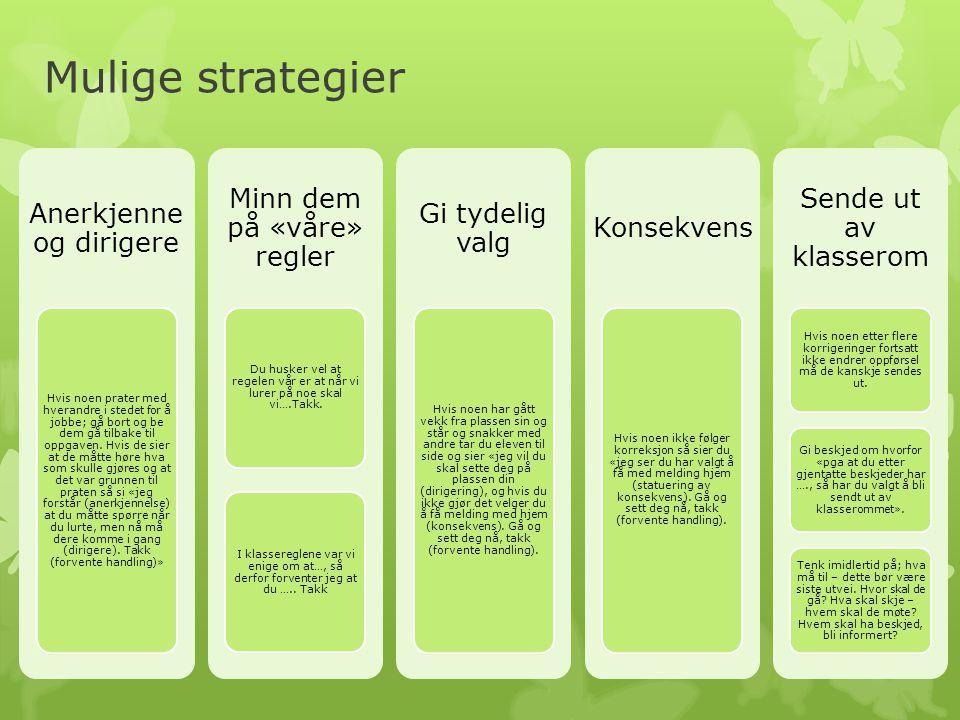Mulige strategier Anerkjenne og dirigere Minn dem på «våre» regler