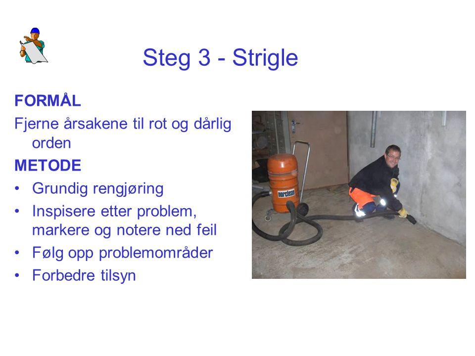 Steg 3 - Strigle FORMÅL Fjerne årsakene til rot og dårlig orden METODE