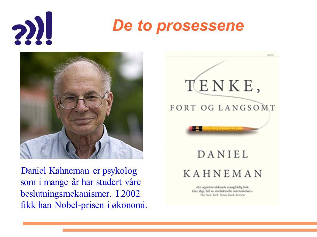De to prosessene Daniel Kahneman er psykolog som i mange år har studert våre beslutningsmekanismer.