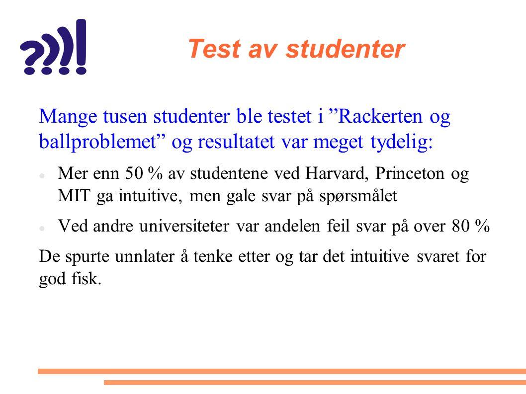 Test av studenter Mange tusen studenter ble testet i Rackerten og ballproblemet og resultatet var meget tydelig: