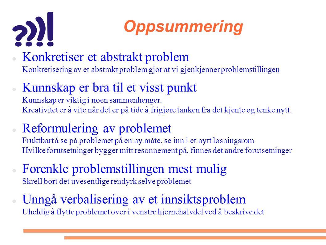 Oppsummering Konkretiser et abstrakt problem Konkretisering av et abstrakt problem gjør at vi gjenkjenner problemstillingen.