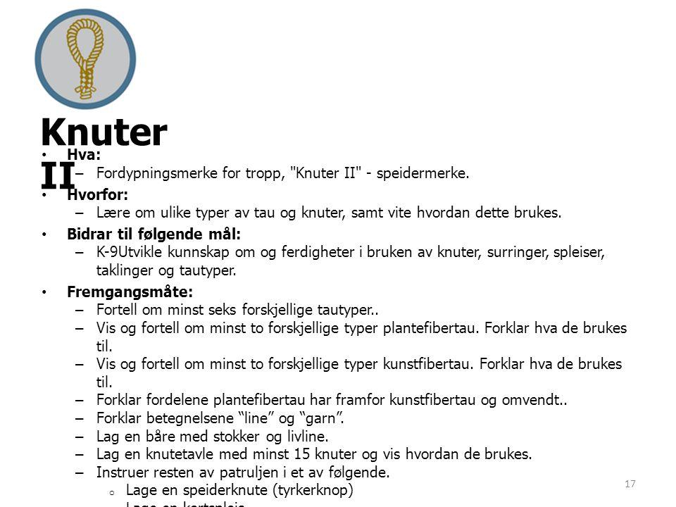 Knuter II Hva: Fordypningsmerke for tropp, Knuter II - speidermerke.