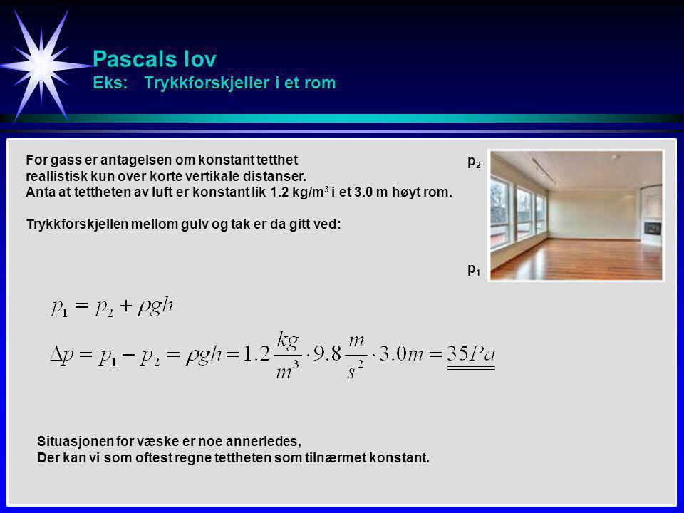 Pascals lov Eks: Trykkforskjeller i et rom