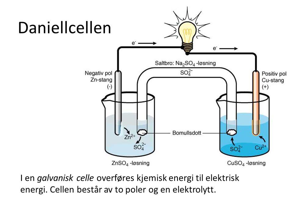 Daniellcellen I en galvanisk celle overføres kjemisk energi til elektrisk energi.