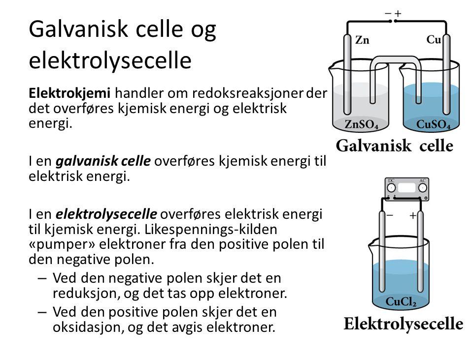 Galvanisk celle og elektrolysecelle