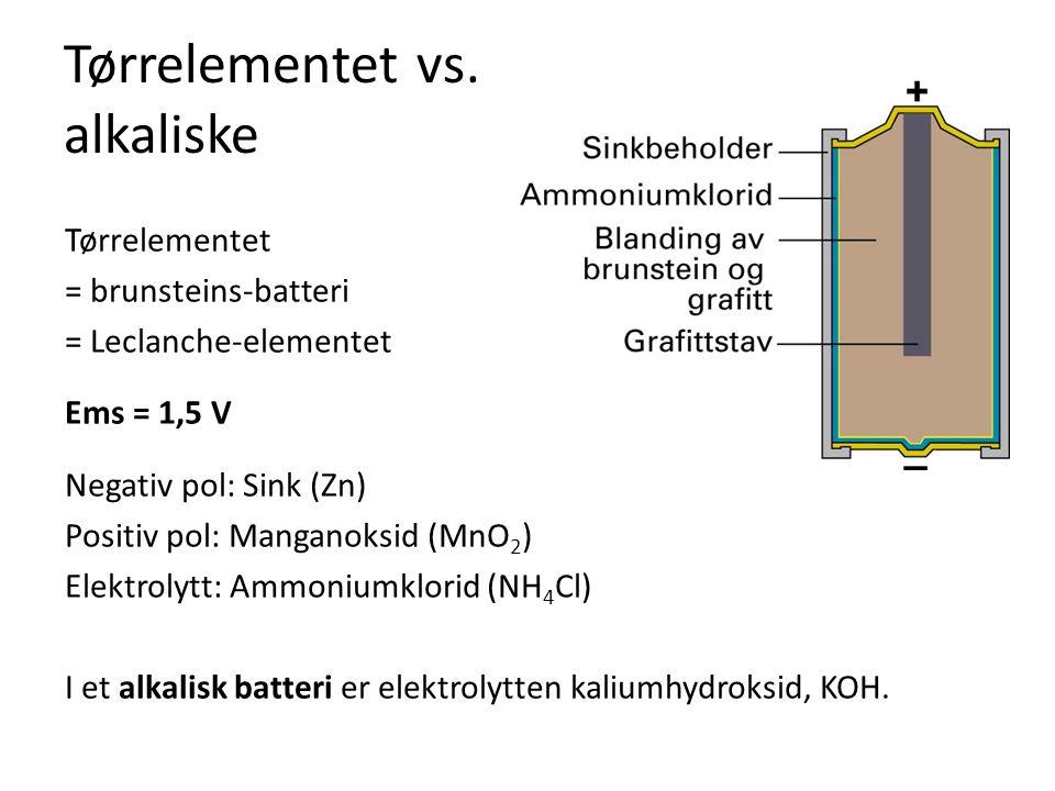 Tørrelementet vs. alkaliske