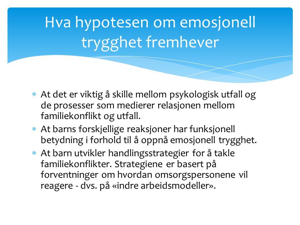 Hva hypotesen om emosjonell trygghet fremhever