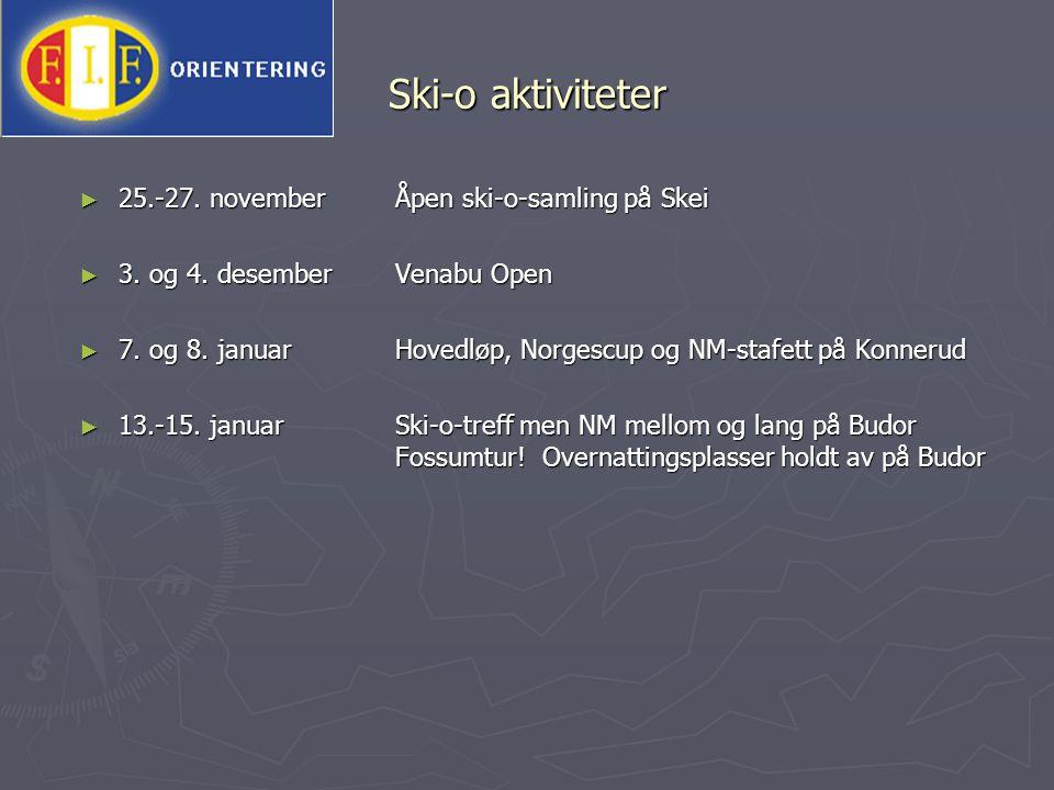 Ski-o aktiviteter 25.-27. november Åpen ski-o-samling på Skei