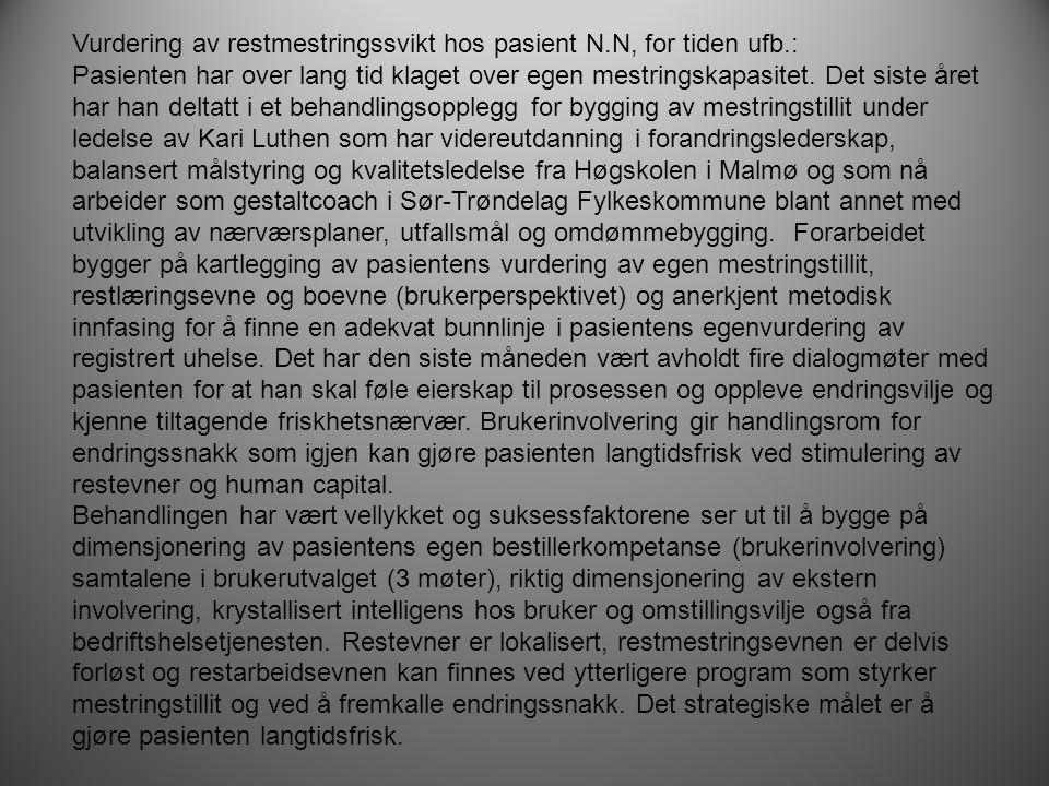 Vurdering av restmestringssvikt hos pasient N.N, for tiden ufb.: