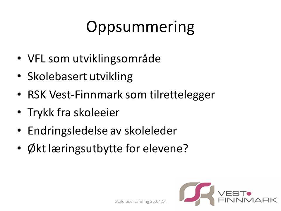 Oppsummering VFL som utviklingsområde Skolebasert utvikling