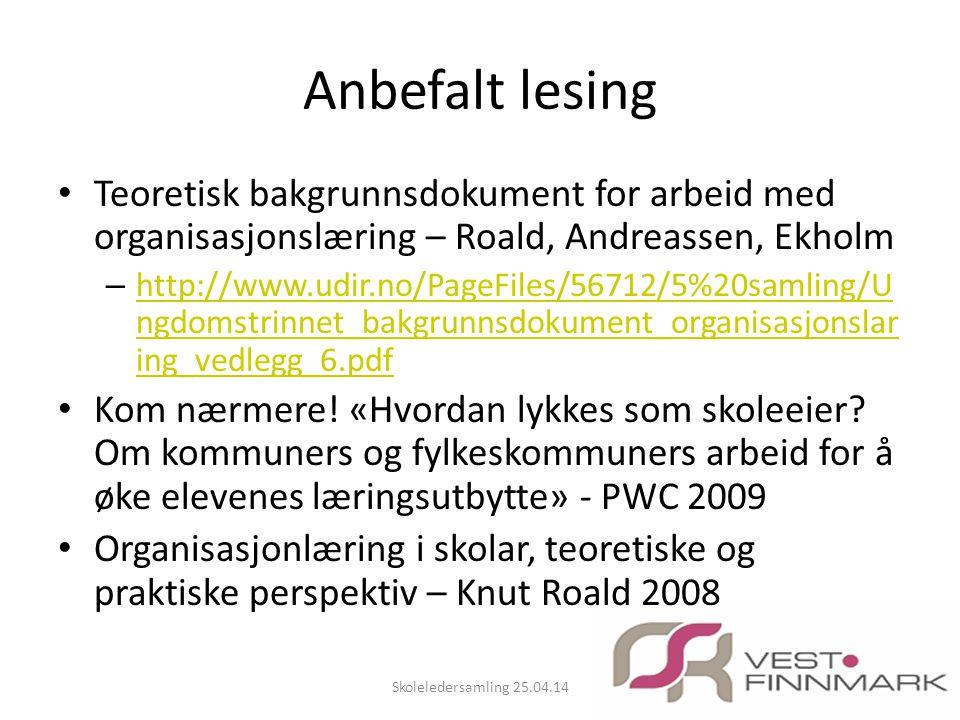 Anbefalt lesing Teoretisk bakgrunnsdokument for arbeid med organisasjonslæring – Roald, Andreassen, Ekholm.