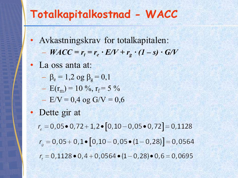Totalkapitalkostnad - WACC