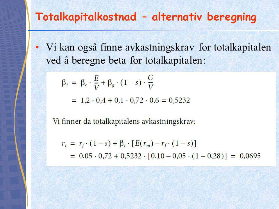 Totalkapitalkostnad – alternativ beregning