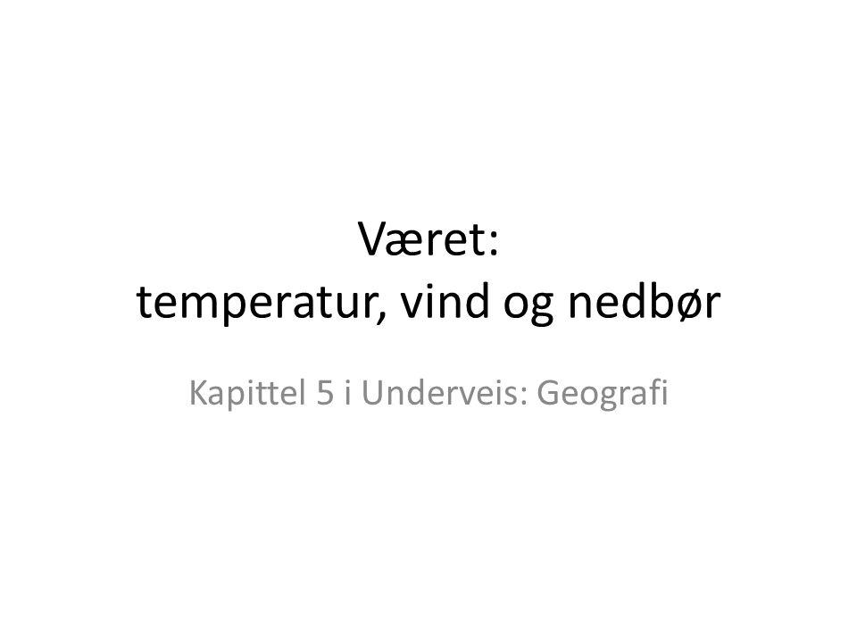Været: temperatur, vind og nedbør