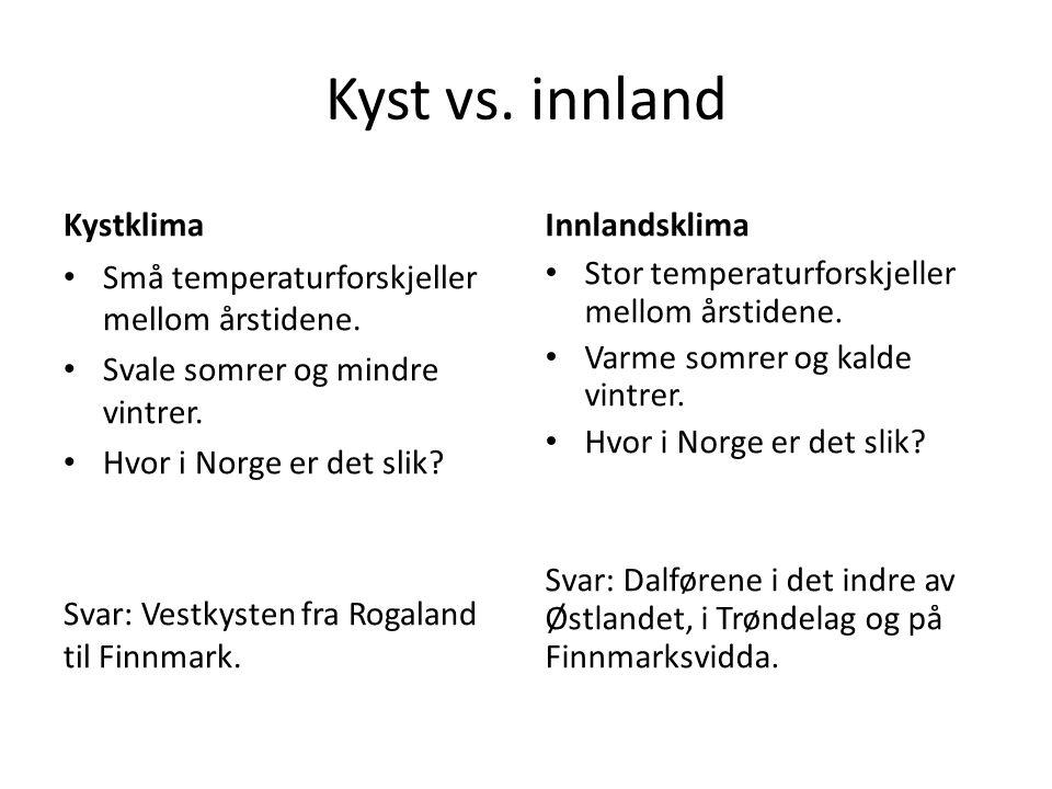 Kyst vs. innland Kystklima Innlandsklima