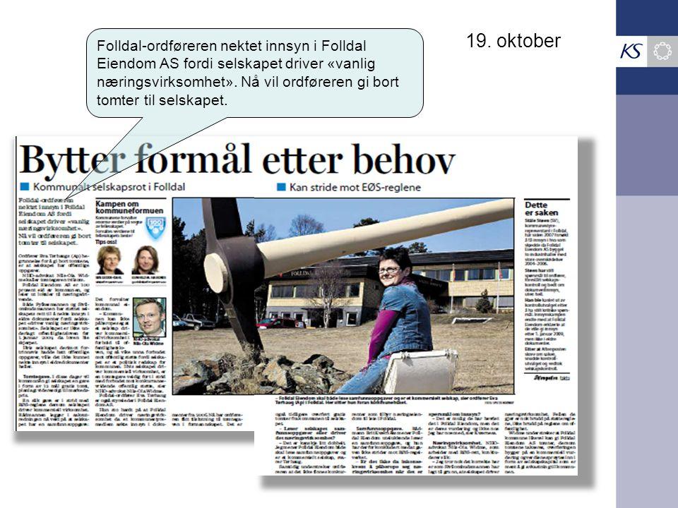 19. oktober Folldal-ordføreren nektet innsyn i Folldal