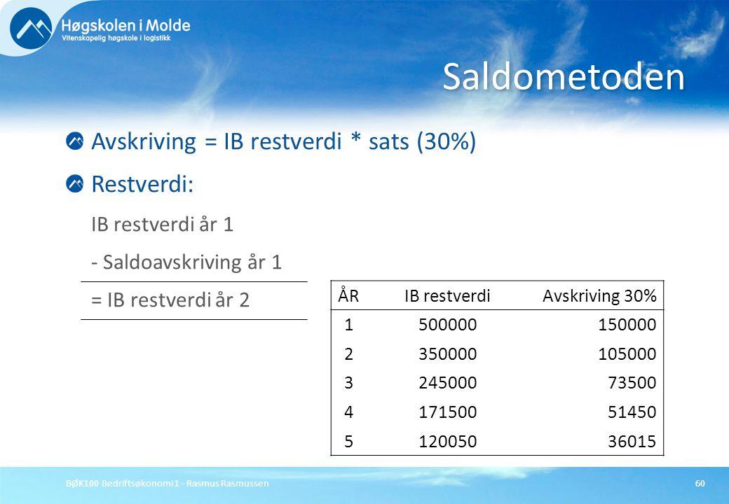 Saldometoden Avskriving = IB restverdi * sats (30%) Restverdi: