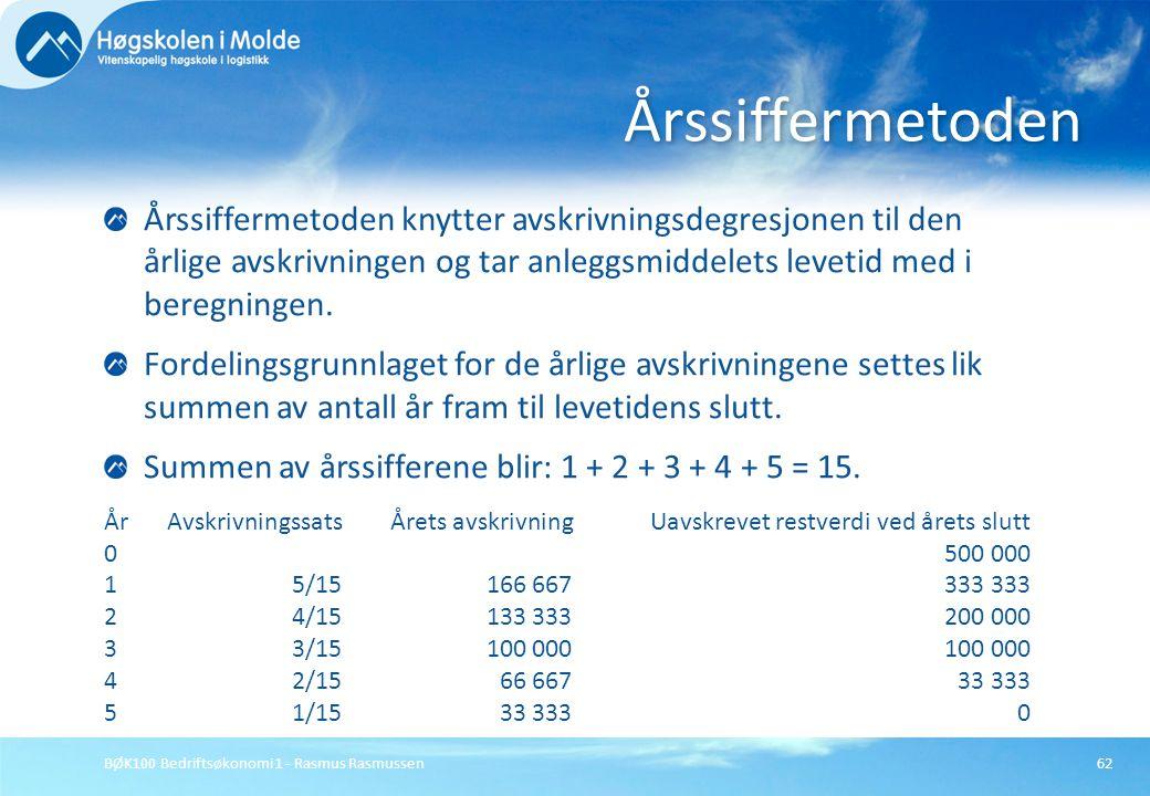 Årssiffermetoden Årssiffermetoden knytter avskrivningsdegresjonen til den årlige avskrivningen og tar anleggsmiddelets levetid med i beregningen.