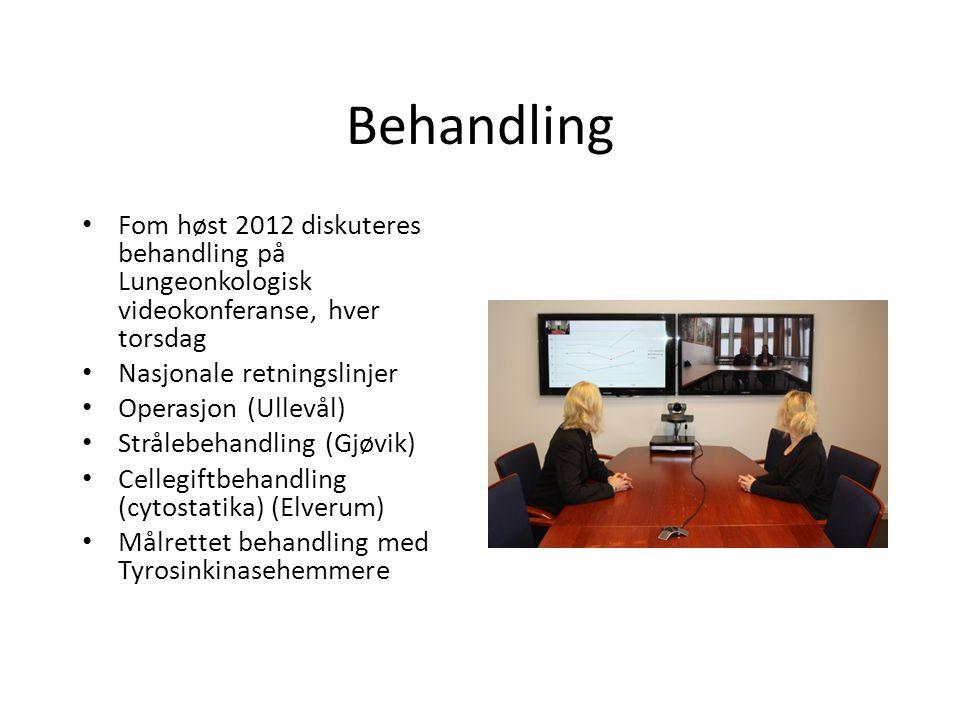 Behandling Fom høst 2012 diskuteres behandling på Lungeonkologisk videokonferanse, hver torsdag. Nasjonale retningslinjer.