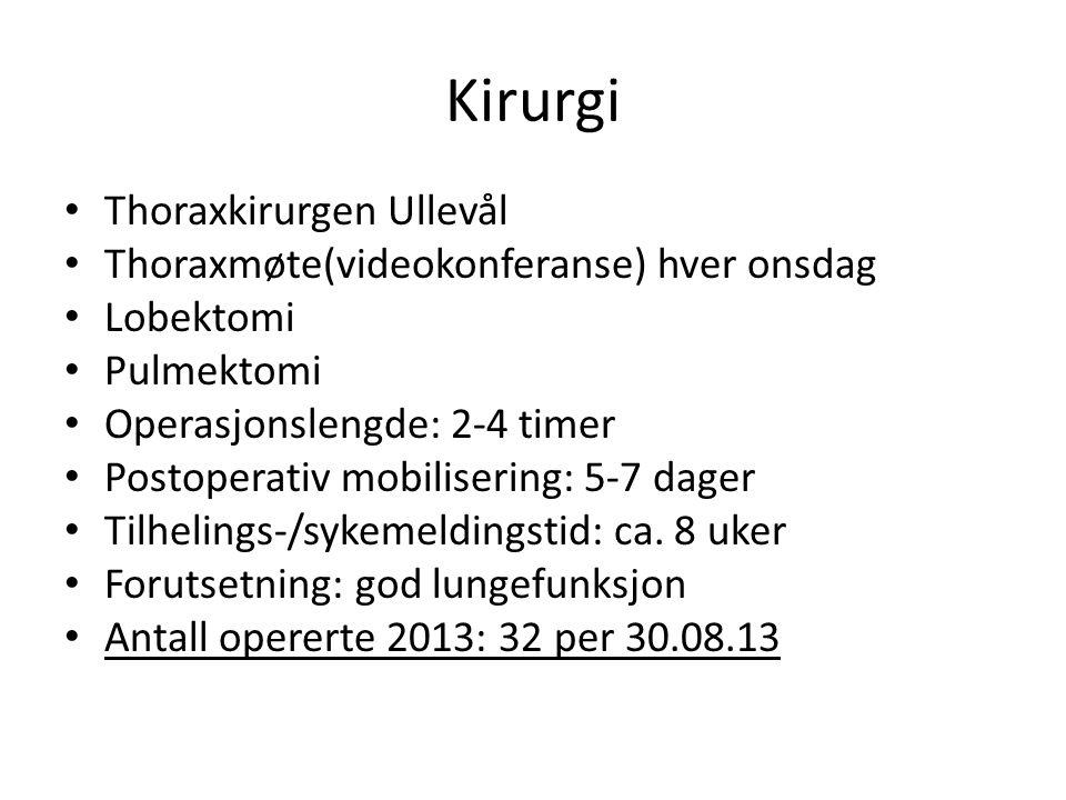 Kirurgi Thoraxkirurgen Ullevål Thoraxmøte(videokonferanse) hver onsdag