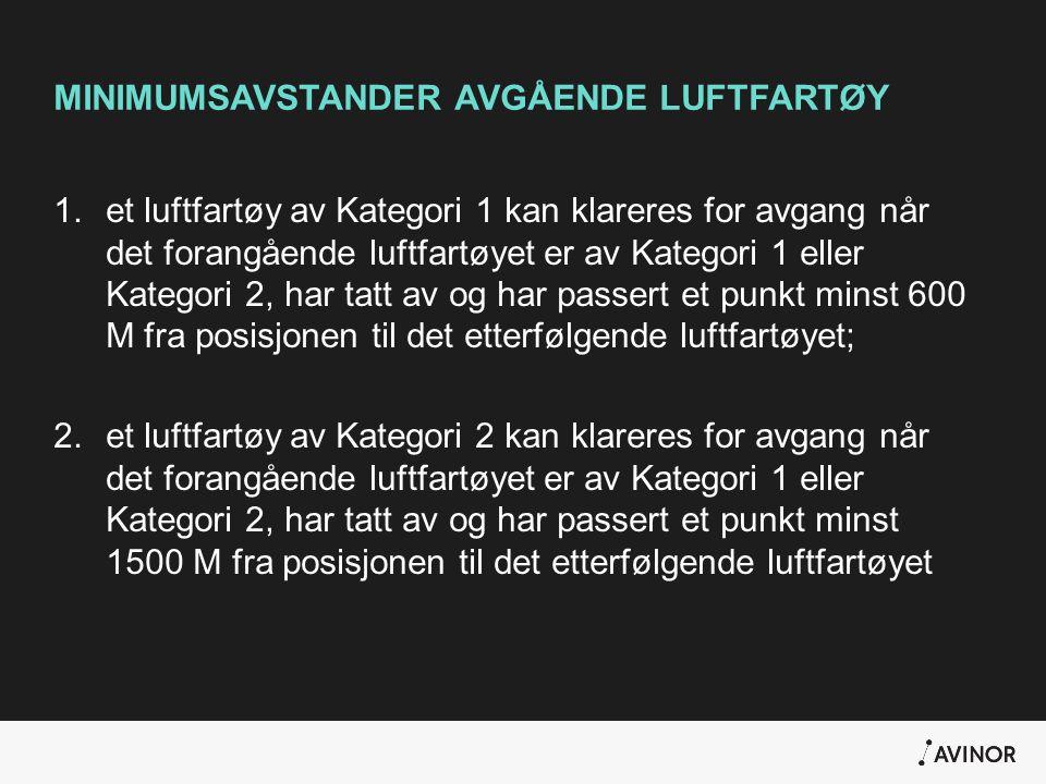 MINIMUMSAVSTANDER AVGÅENDE LUFTFARTØY