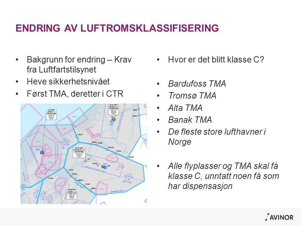 ENDRING AV LUFTROMSKLASSIFISERING