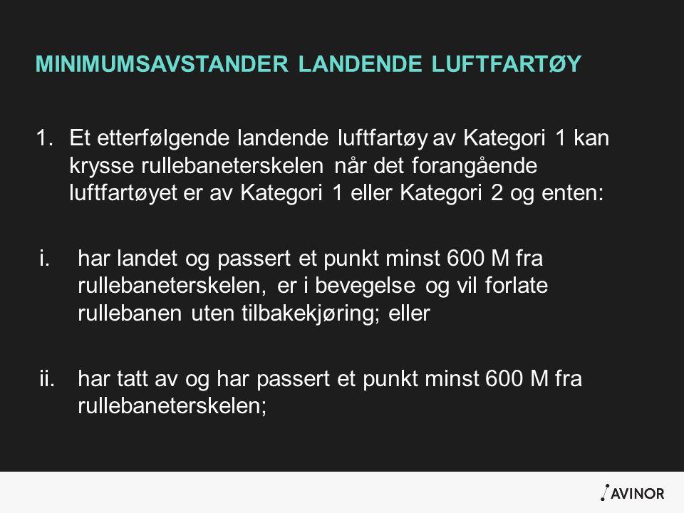 MINIMUMSAVSTANDER LANDENDE LUFTFARTØY