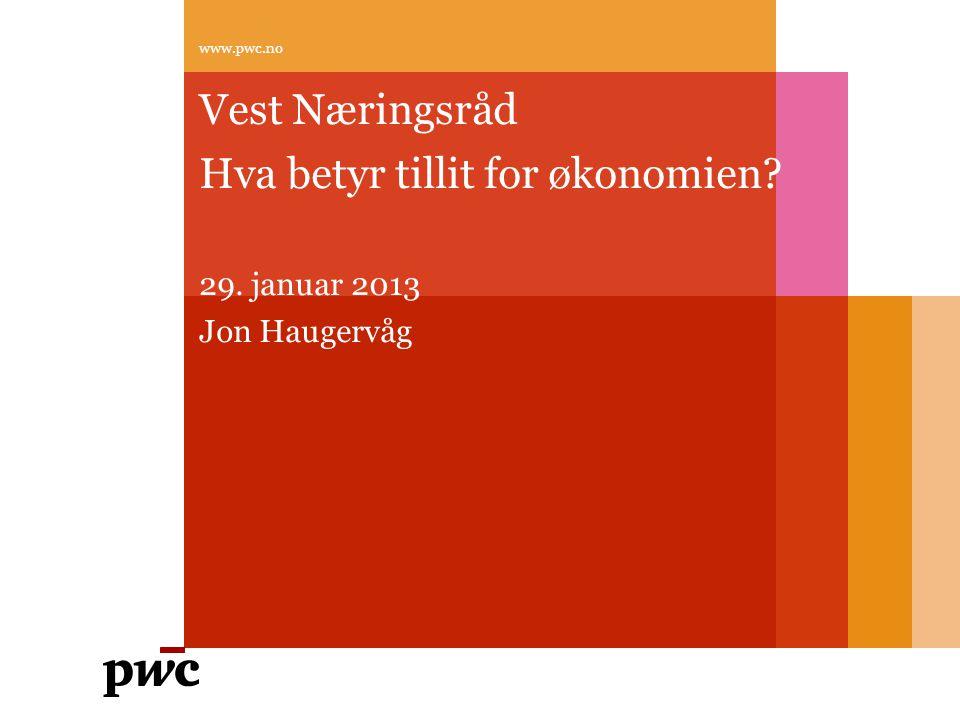 Hva betyr tillit for økonomien 29. januar 2013 Jon Haugervåg