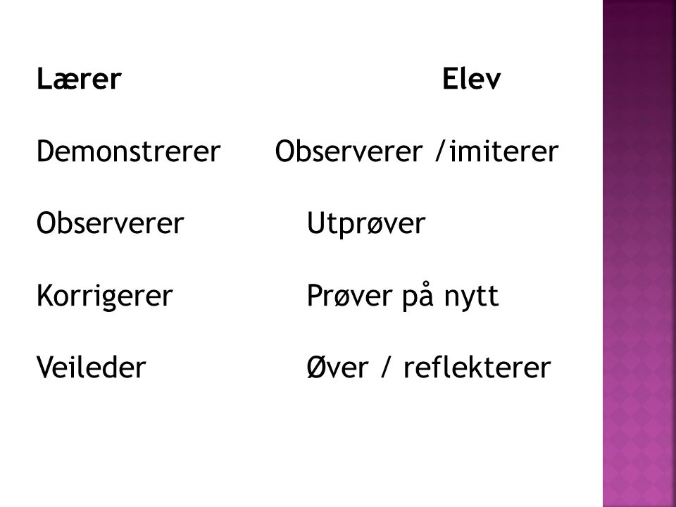 Lærer Elev Demonstrerer Observerer /imiterer. Observerer Utprøver. Korrigerer Prøver på nytt.