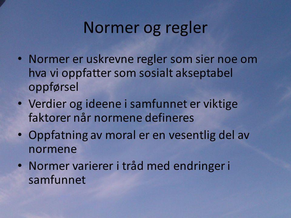 Normer og regler Normer er uskrevne regler som sier noe om hva vi oppfatter som sosialt akseptabel oppførsel.
