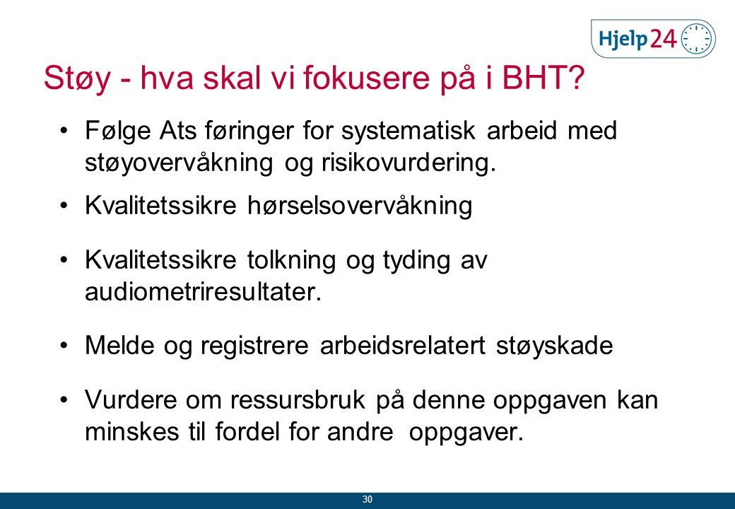 Støy - hva skal vi fokusere på i BHT