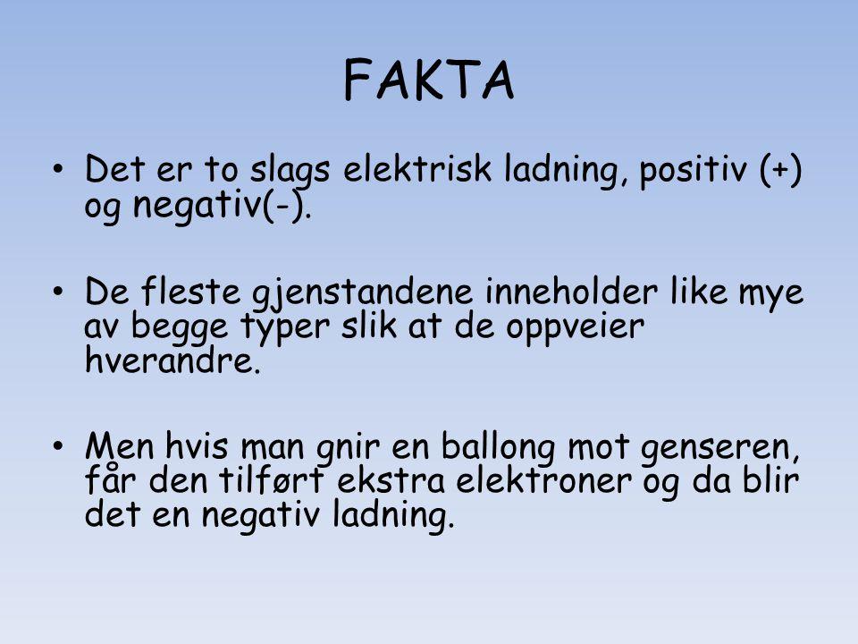 FAKTA Det er to slags elektrisk ladning, positiv (+) og negativ(-).