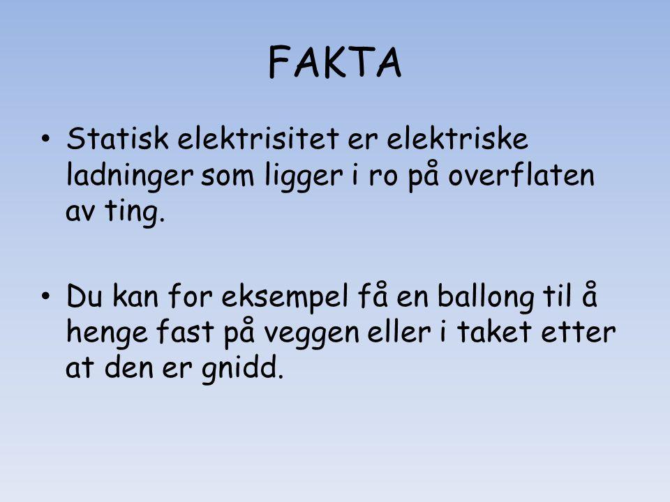FAKTA Statisk elektrisitet er elektriske ladninger som ligger i ro på overflaten av ting.