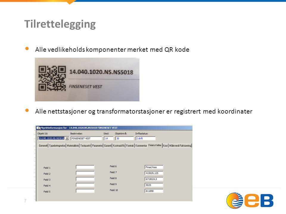 Tilrettelegging Alle vedlikeholds komponenter merket med QR kode