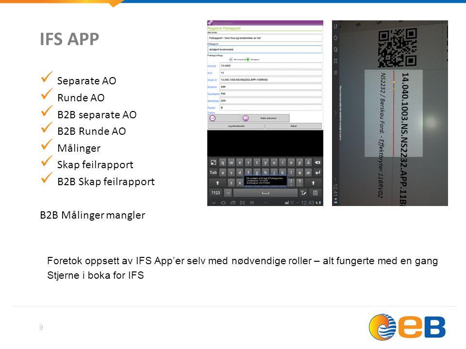 IFS APP Separate AO Runde AO B2B separate AO B2B Runde AO Målinger