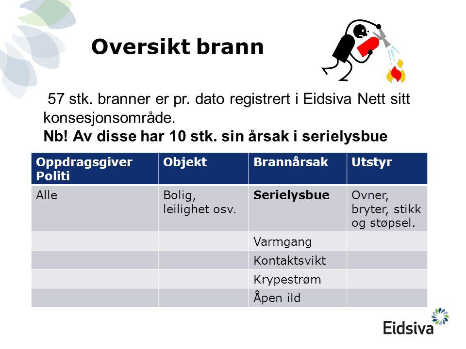 Oversikt brann 57 stk. branner er pr. dato registrert i Eidsiva Nett sitt konsesjonsområde. Nb! Av disse har 10 stk. sin årsak i serielysbue.