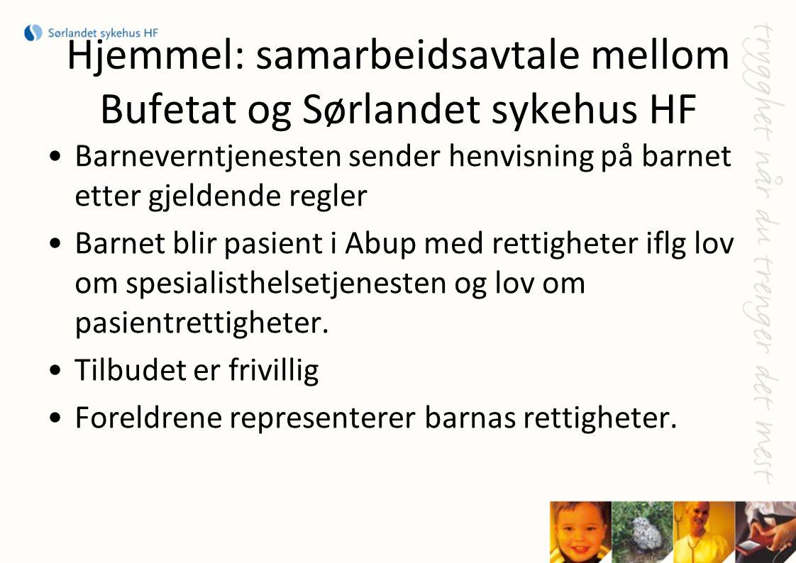 Hjemmel: samarbeidsavtale mellom Bufetat og Sørlandet sykehus HF