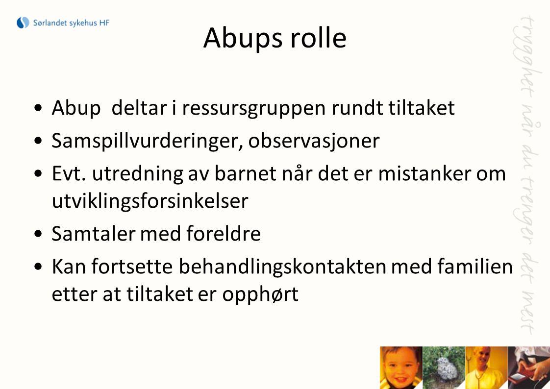 Abups rolle Abup deltar i ressursgruppen rundt tiltaket