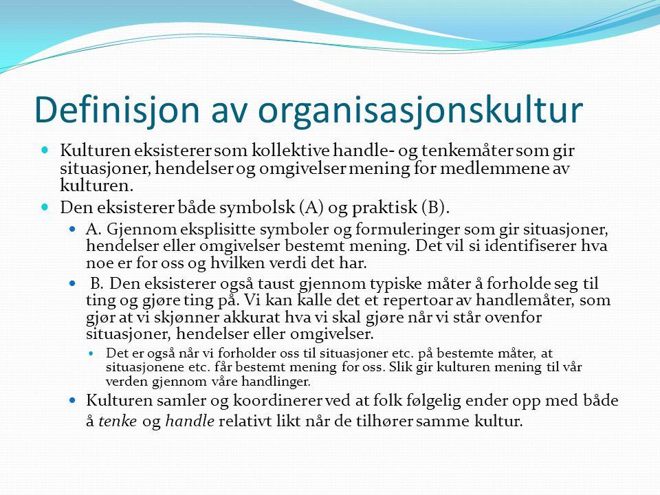 Definisjon av organisasjonskultur