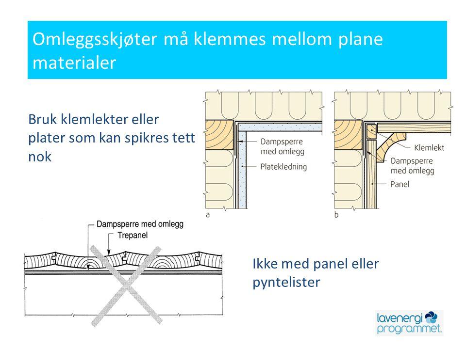 Omleggsskjøter må klemmes mellom plane materialer