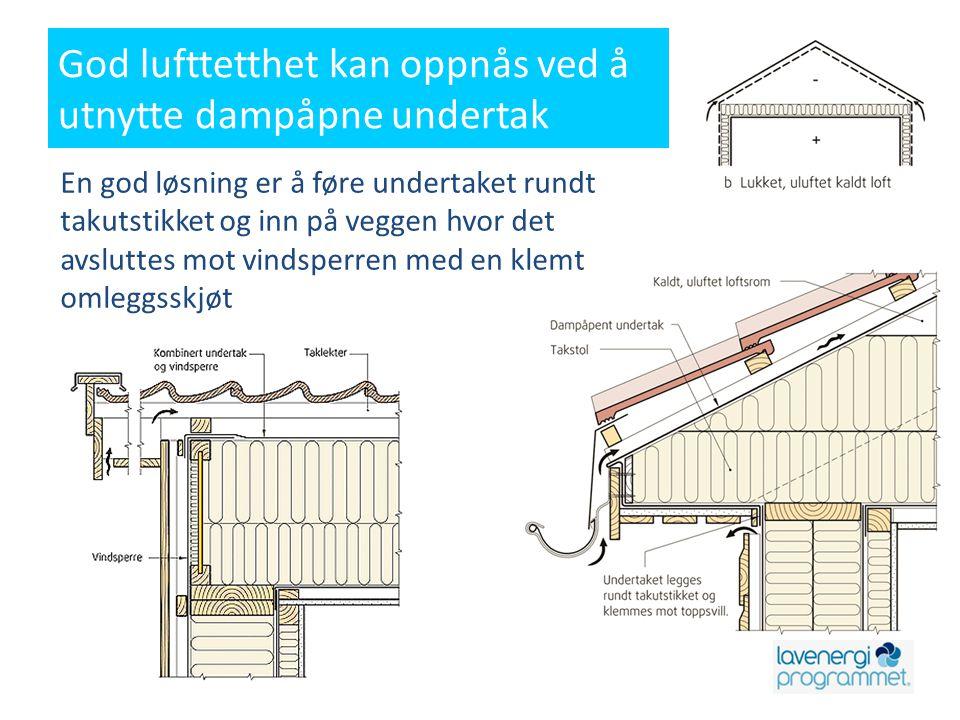 God lufttetthet kan oppnås ved å utnytte dampåpne undertak